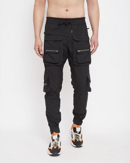 Shop Black Nylon Zipped Cargo Pocket Trackpant-Front