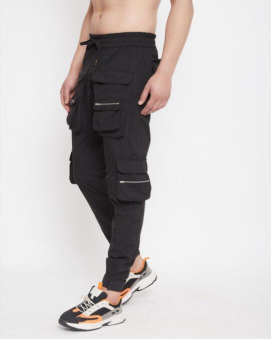 Shop Black Nylon Zipped Cargo Pocket Trackpant-Design
