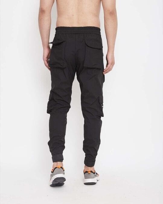 Shop Black Nylon Zipped Cargo Pocket Trackpant-Full