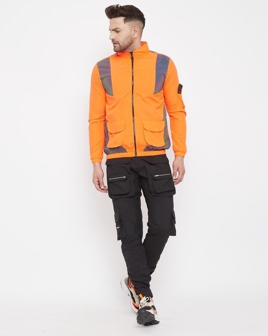 Shop Black Nylon Zipped Cargo Pocket Trackpant