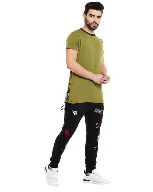 Shop Black Patched Distressed Joggers