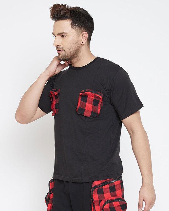 Shop Black Plaid Chest Pocket Tshirt-Back