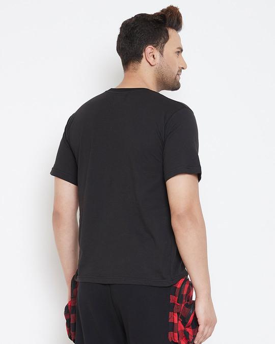 Shop Black Plaid Chest Pocket Tshirt-Design