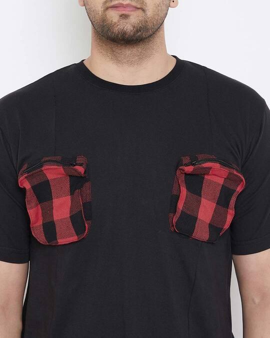 Shop Black Plaid Chest Pocket Tshirt
