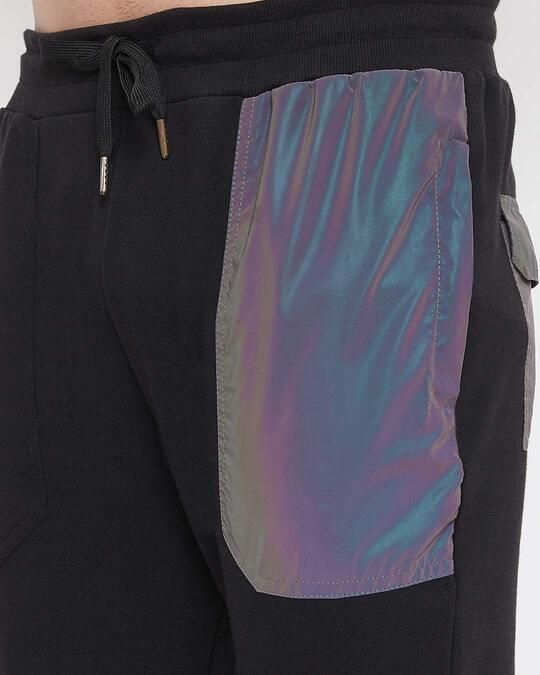 Shop Black Rainbow Reflective Patched Trackpants