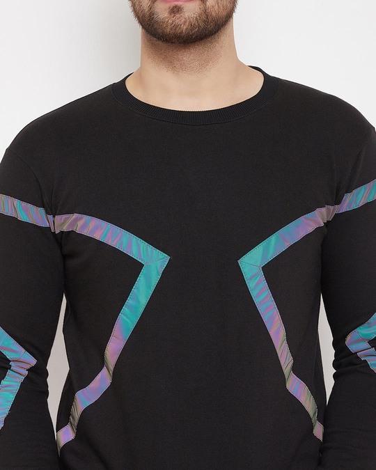 Shop Black Rainbow Reflective Taped Sweatshirt-Back