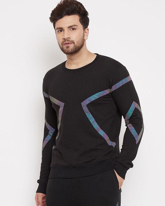 Shop Black Rainbow Reflective Taped Sweatshirt-Design