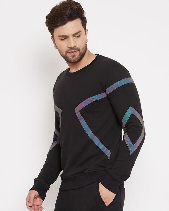 Shop Black Rainbow Reflective Taped Sweatshirt