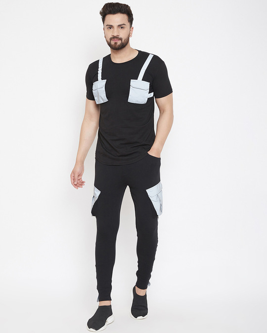 Shop Black Reflective Chest Pocket Taped Tshirt And Cargo Joggers Combo Suit-Front