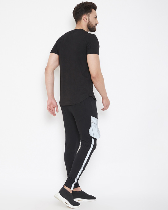 Shop Black Reflective Chest Pocket Taped Tshirt And Cargo Joggers Combo Suit-Design