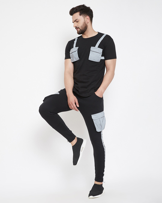 Shop Black Reflective Chest Pocket Taped Tshirt And Cargo Joggers Combo Suit-Full