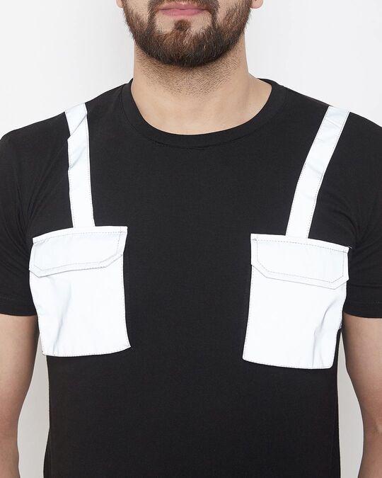 Shop Black Reflective Chest Pocket Taped Tshirt