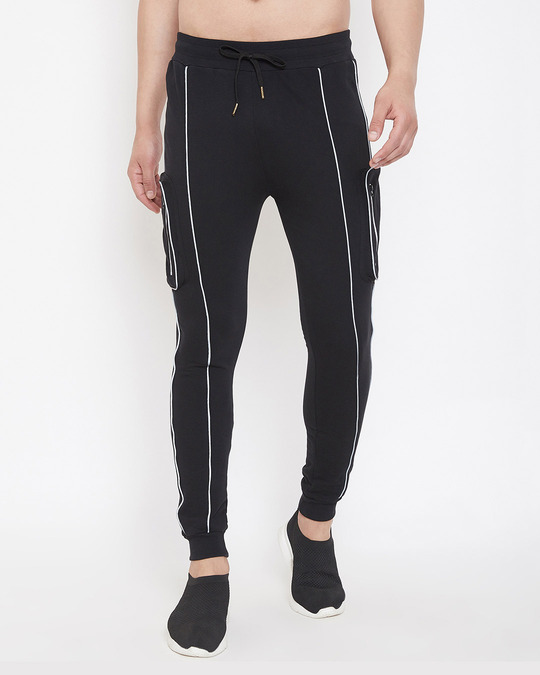 Shop Black Reflective Piping Cargo Joggers-Front