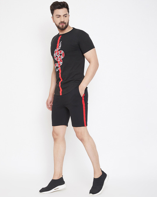 Shop Black Snake Patched Tshirt And Shorts Combo Suit-Back