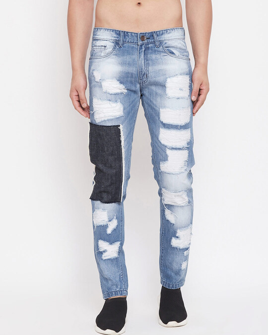 Shop Blue Heavy Distressed Patched Straight Fit Denim-Front
