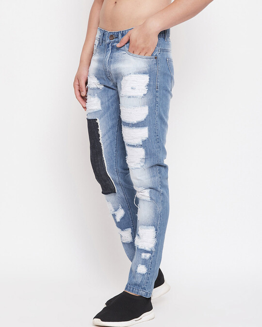 Shop Blue Heavy Distressed Patched Straight Fit Denim-Back