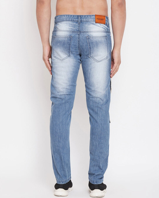 Shop Blue Heavy Distressed Patched Straight Fit Denim-Design
