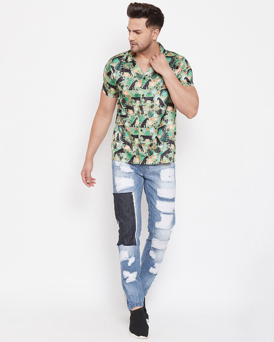 Shop Blue Heavy Distressed Patched Straight Fit Denim-Full