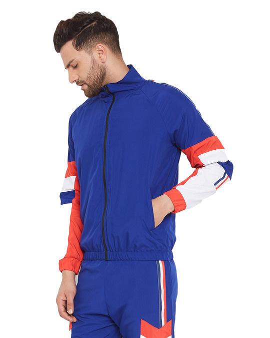 Shop Blue Nylon Taped Wind Breaker Jacket
