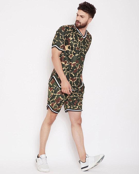 Shop Camo Mesh Basketball Tshirt And Shorts Combo Suit-Back