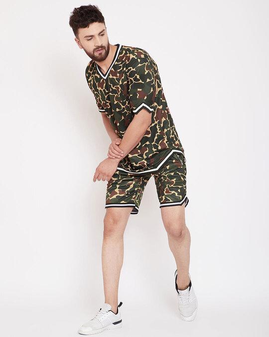 Shop Camo Mesh Basketball Tshirt And Shorts Combo Suit-Full