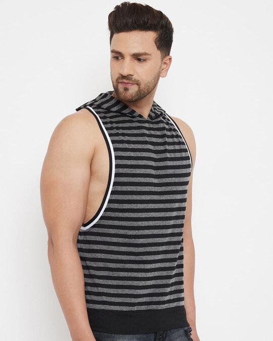 Shop Charcoal And Black Stripped Hooded Stringer Vest-Back