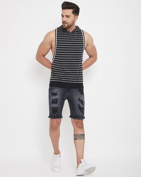Shop Charcoal And Black Stripped Hooded Stringer Vest