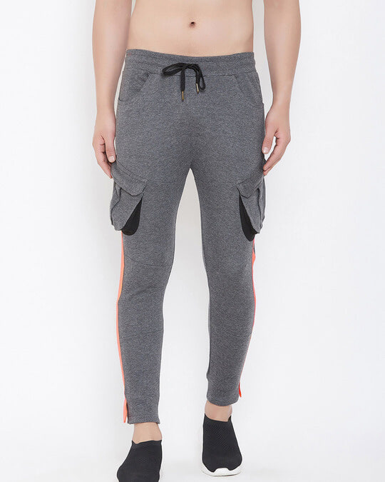 Shop Charcoal Cargo Neon Orange Taped Joggers-Front