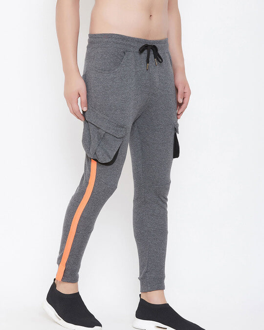 Shop Charcoal Cargo Neon Orange Taped Joggers-Full