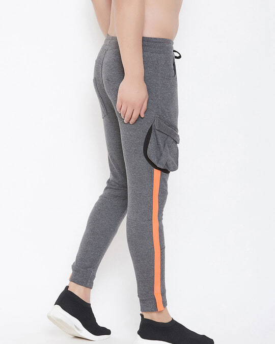 Shop Charcoal Cargo Neon Orange Taped Joggers