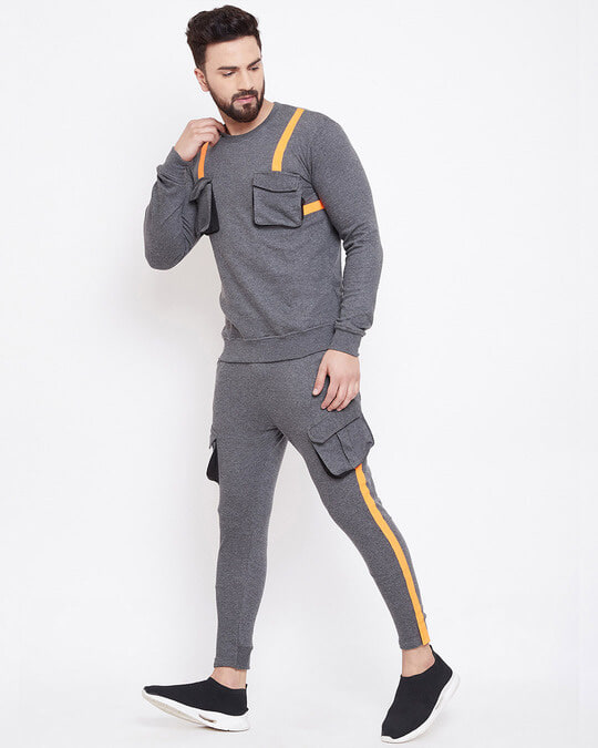 Shop Charcoal Chest Pocket Taped Sweatshirt-Front