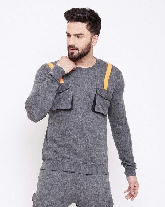 Shop Charcoal Chest Pocket Taped Sweatshirt-Design
