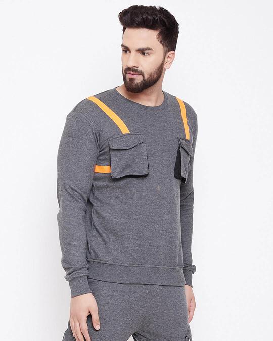 Shop Charcoal Chest Pocket Taped Sweatshirt-Full