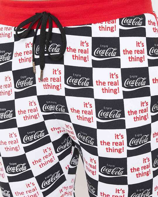 Shop Cocacola Checkered Printed Tshirt And Shorts Combo Suit