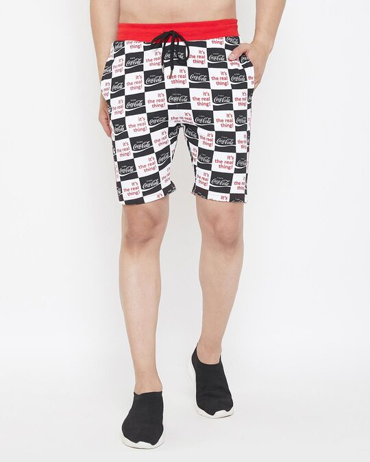 Shop Cocacola Checkered Taped Shorts-Front