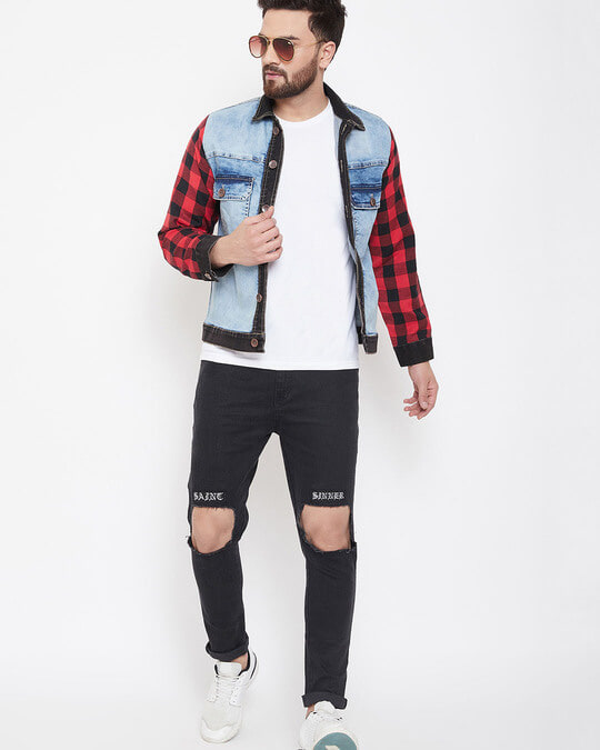Shop Denim Jacket With Checkered Flanel Sleeves-Back