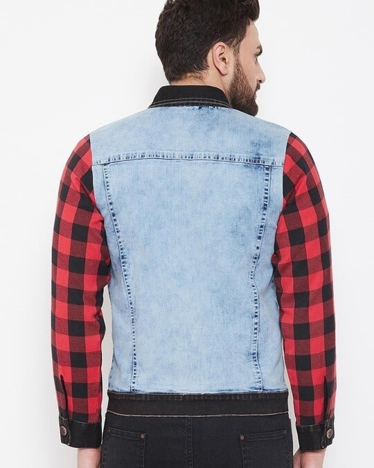 Shop Denim Jacket With Checkered Flanel Sleeves