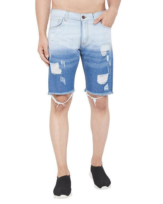 Shop Denim Ombre Dyed Shorts-Front