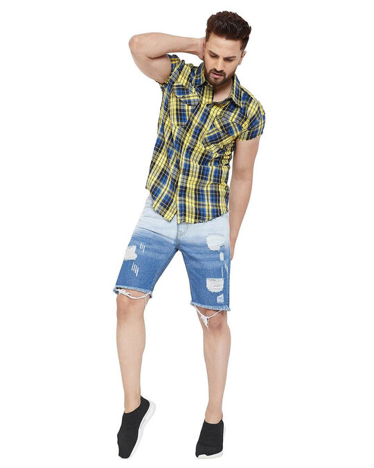 Shop Denim Ombre Dyed Shorts-Full