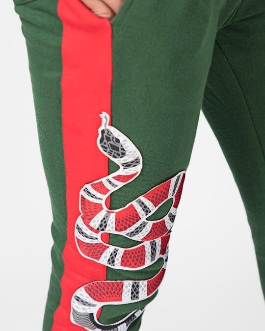 Shop Forest Green Snake Patched Sweatpant