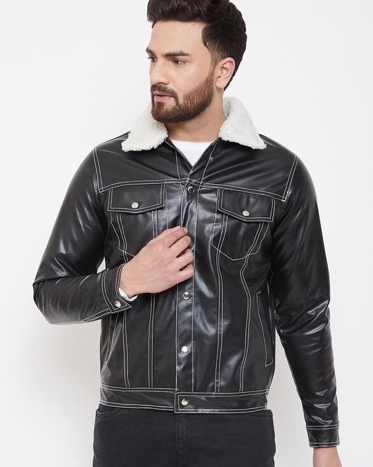 Shop Fur Collar Faux Leather Jacket-Front