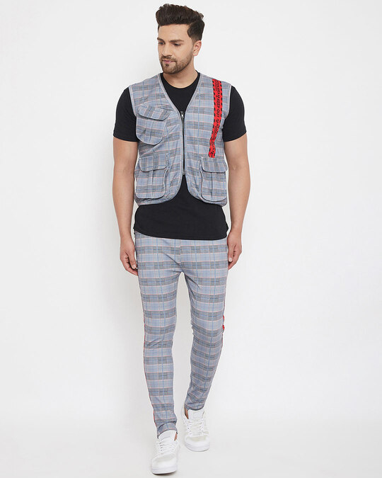Shop Grey Plaid Radioactive Tape Gillet And Trackpants Combo Set-Front