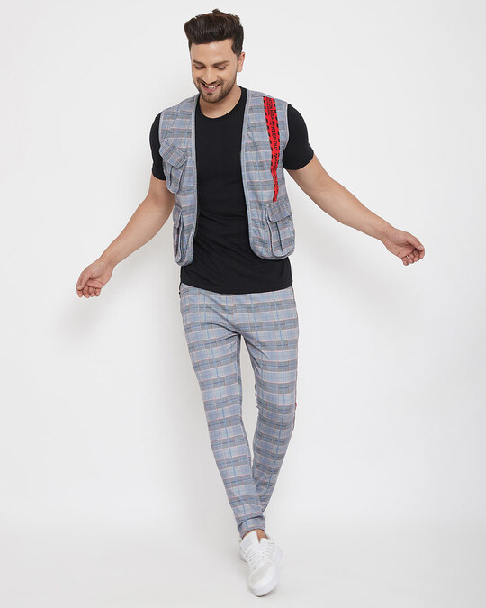 Shop Grey Plaid Radioactive Tape Gillet And Trackpants Combo Set-Full