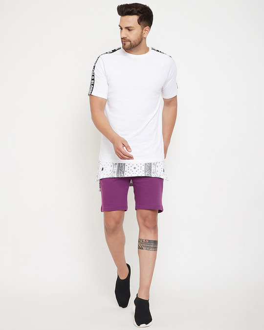 Shop Lilac Paisely Layered Shorts-Full