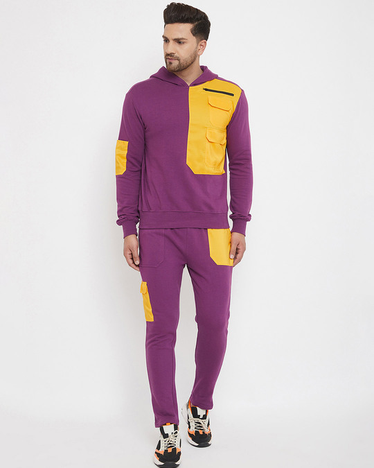 Shop Lilac Yellow Patched Trackpants