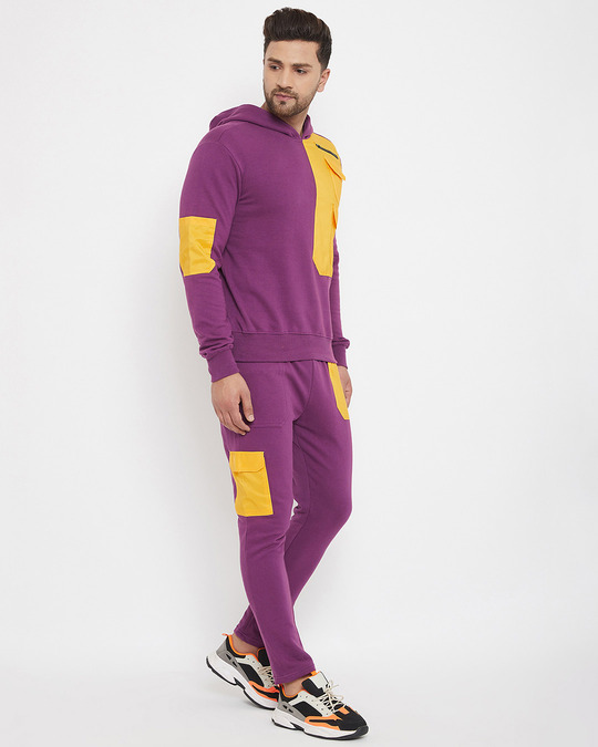 Shop Lilac Yellow Patched Tracksuit-Back