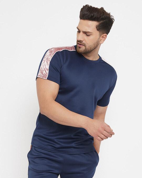 Shop Navy Scuba Velour Taped Tshirt-Design