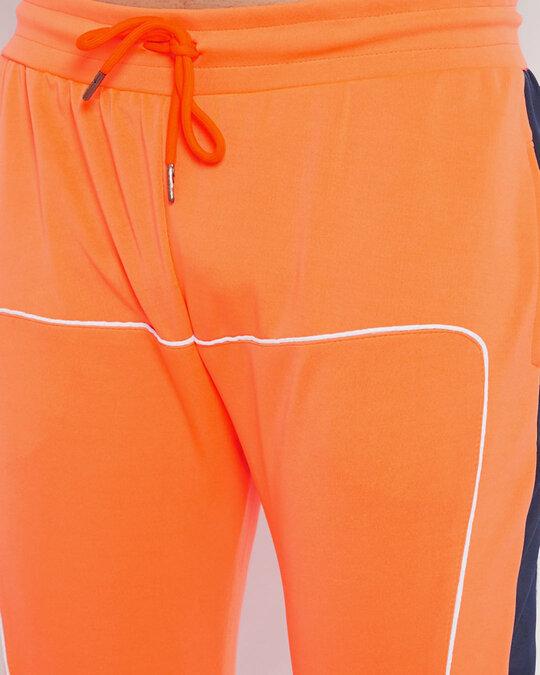 Shop Neon Orange Scuba Piping Trackpants