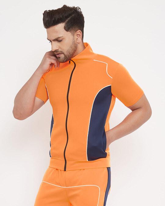 Shop Neon Orange Scuba Piping Tshirt-Design