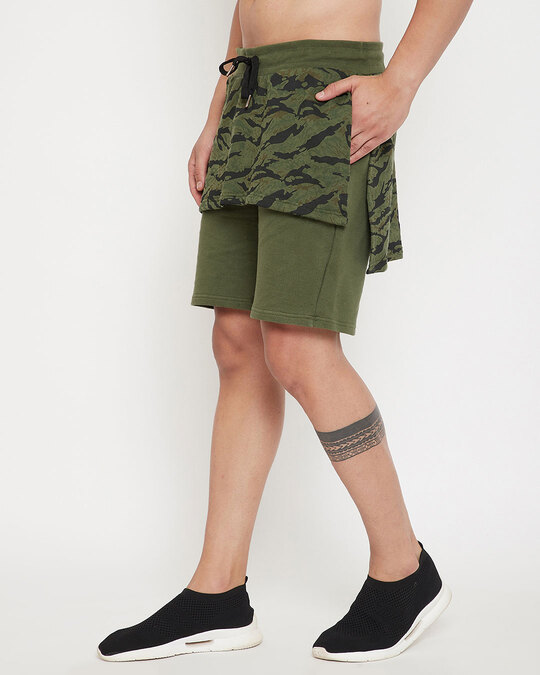 Shop Olive Camo Layered Shorts-Back